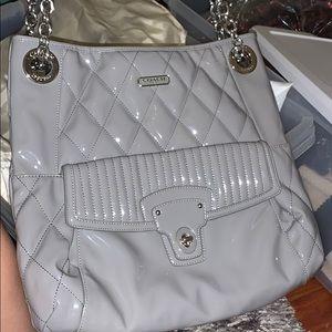Coach paten leather grey bag